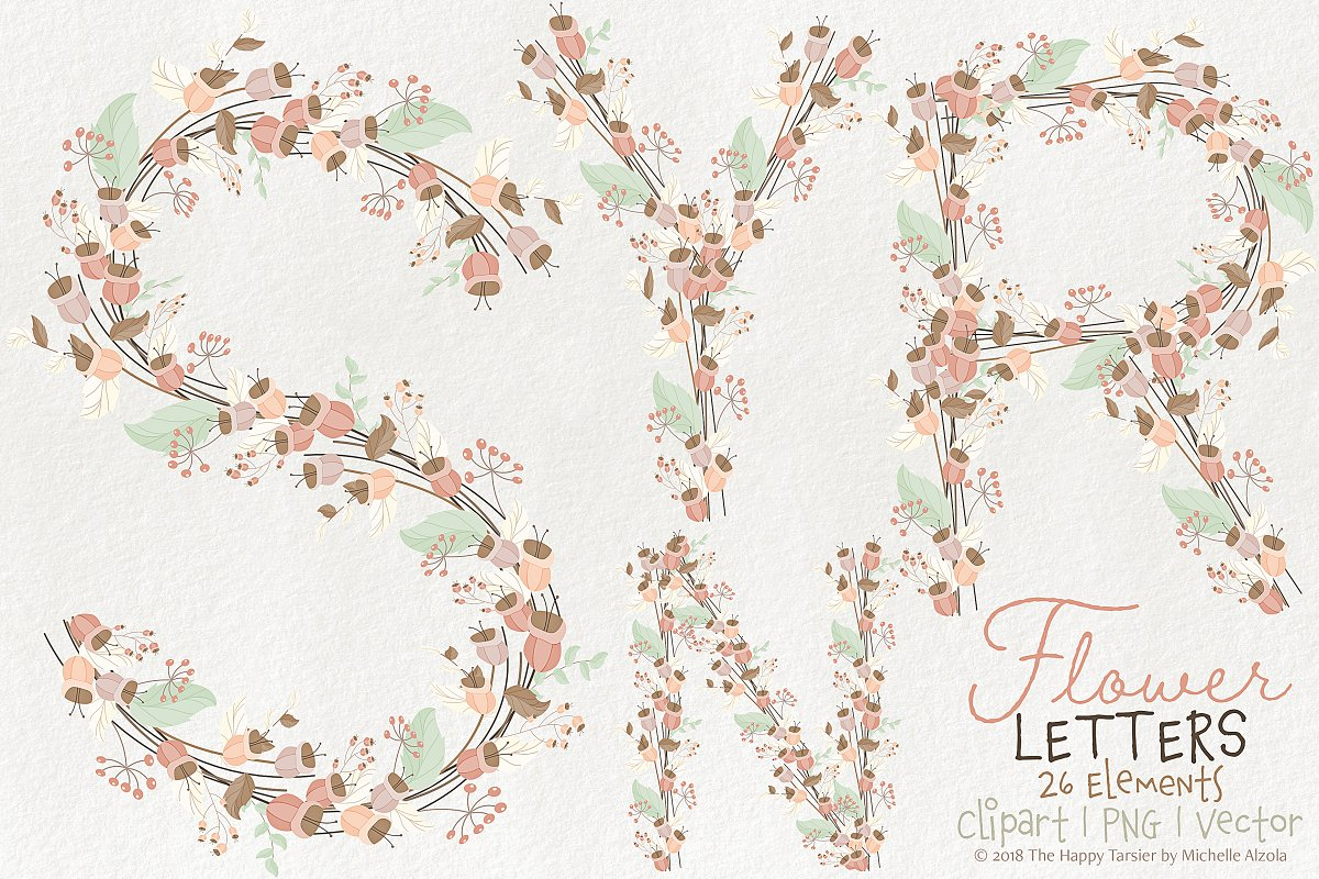 Flower Letters 01BI07 Floral Clipart in Illustrations - product preview 8