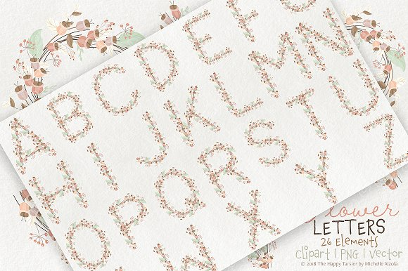 Flower Letters 01BI07 Floral Clipart in Illustrations - product preview 1