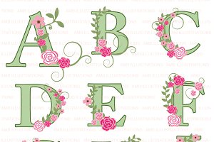 Floral Letter clipart A to I AMB-956