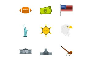 Country USA icons set, flat style