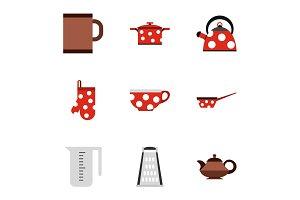 Tableware icons set, flat style