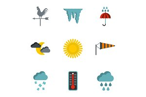Kinds of weather icons set, flat