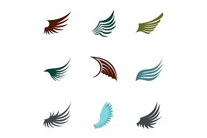 Different wings icons set, flat