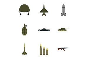 Military weapons icons set, flat