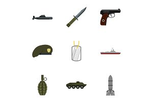 Military defense icons set, flat
