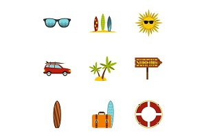 Surfing club icons set, flat style