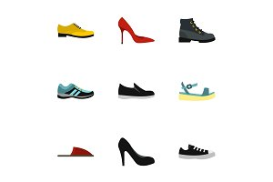 Kind of shoes icons set, flat style
