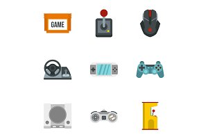 Game icons set, flat style