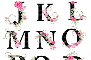 Floral Letter Clipart J to R AMB-933