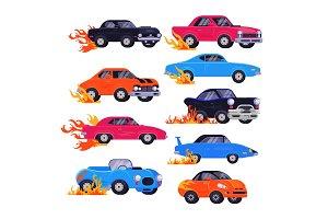 Muscle car vector racing speedcar on