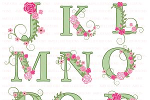 Floral Letter Clipart J to R AMB-957