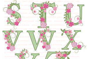 Floral Letter Clipart S to Z AMB-958