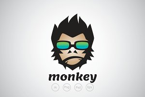 Modern and Cool Monkey Logo Template
