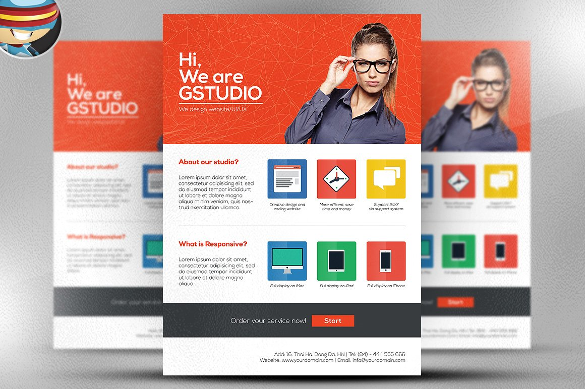 Flat Style Web Design Studio Flyer Flyer Templates