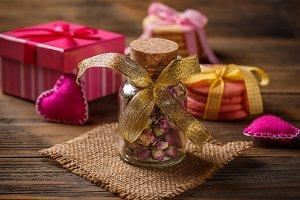 Rose buds tea in glass jar