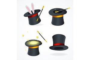 Realistic 3d Black Magic Hat Set