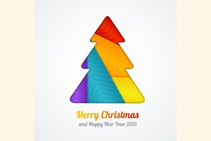 Vector Christmas tree paper card.