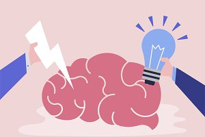 Creative idea and thinking brain