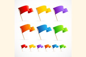 Vector set of different color flags