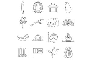 Sri Lanka travel icons set, outline