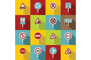 Different road signs icons set, flat