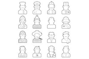 Profession icons set, outline style