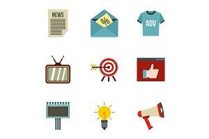 Marketing icons set, flat style