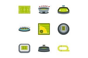 Championship icons set, flat style