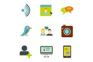 Message icons set, flat style