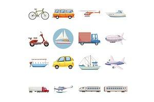 Transportation icons set, cartoon