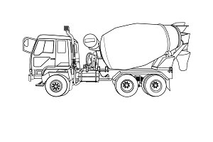 Cement mixer truck on white