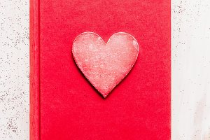 Red diary book with heart