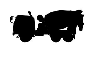 silhouette  of cement mixer truck