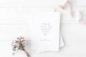 Wedding card mockup, PSD + JPG
