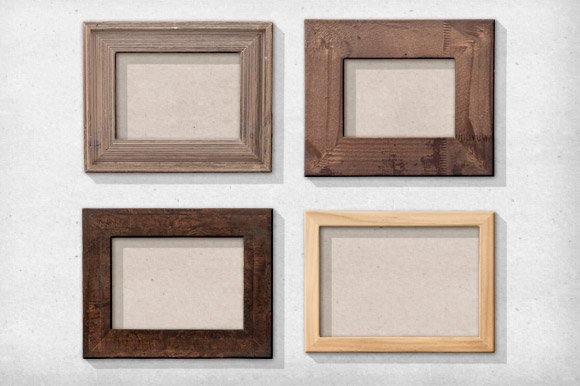 11 isolated natural wood frames objects creative market - Natural Wood Picture Frames