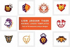 Lion Jaguar Tiger Animal Logos Pack