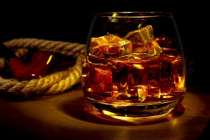 Glass of whiskey, cognac or brandy