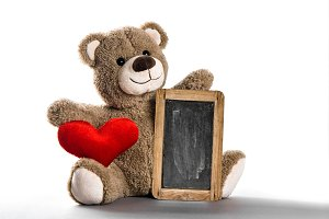 Teddy bear toy red heart chalkboard