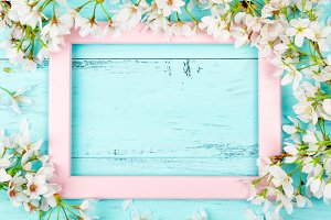 Turquoise spring background with a f