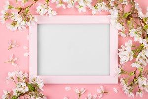 Pink springtime frame with blank spa