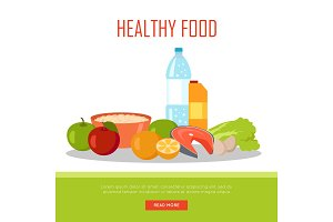 Healthy Food Banner Isolated on