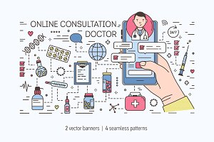 Online doctor banner and seamless