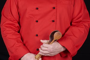 chef in red uniform