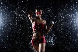 Beautiful young girl in red sportswe