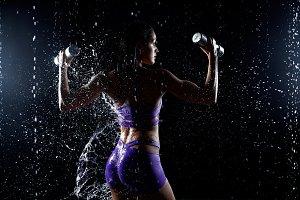 Beautiful young girl in purple sport