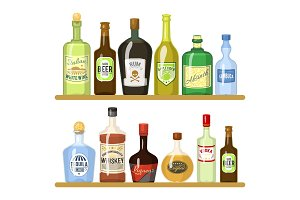 Different alcoholic drinks in
