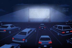 Open air cinema illustration