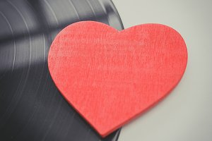 heart and vinyl record