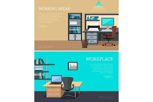 Set of Office Interior Web Banners