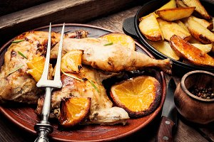 Baked chicken with orange sauce